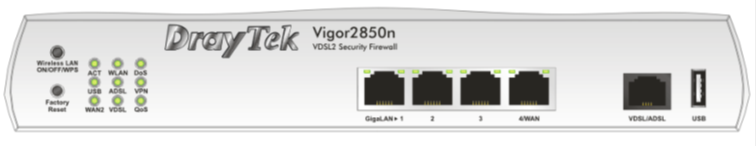 Front inputs Draytek Vigor 2850n